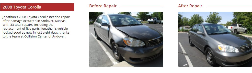 before and after images of Toyota Corolla collision repair