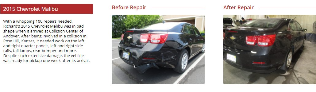 before and after images of a vehicle that needed collision repair. Collision Center of Andover is a full service auto body shop and handles paintless dent repair