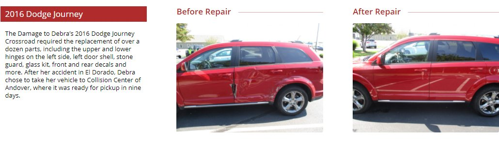 before and after images of a vehicle that needed collision repair. Collision Center of Andover is a full service auto body shop and handles paintless dent repair.