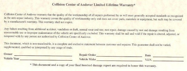 Limited lifetime warranty for auto body shop repair