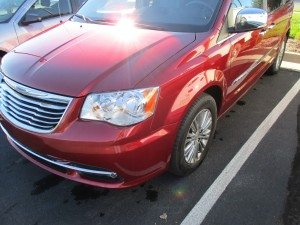red vehicle repaired