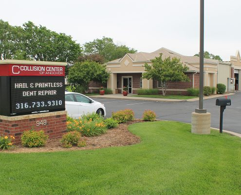 exterior of Collision Center of Andover, full service auto body shop for collision repair and paintless dent repair