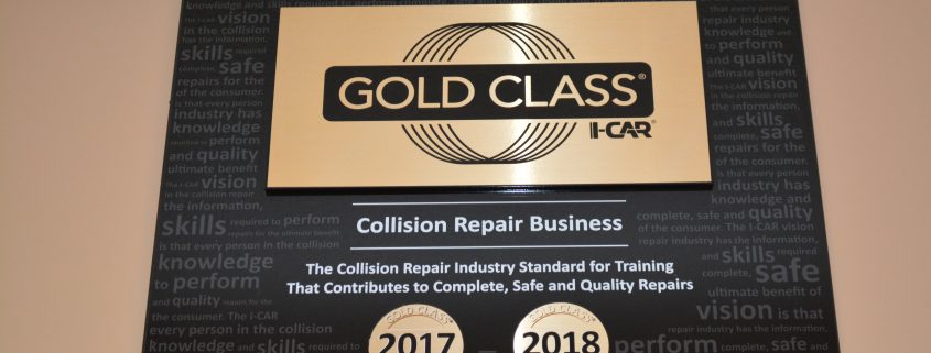 Award from Gold Class i-Car for excellent auto body repair service in the Collision Repair Business.