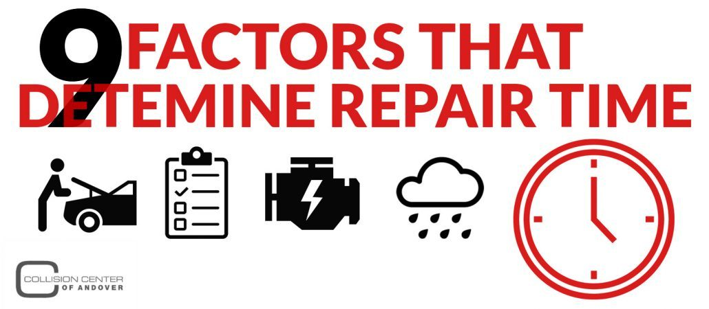 Graphic image with vehicle parts icons: 9 Factors that Determine Car Repair