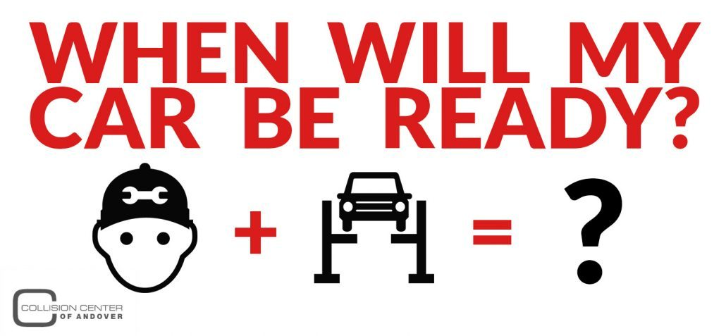 Graphic image with icons of car repair: When Will Car Be Ready?