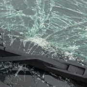 Severely cracked windshield of a vehicle