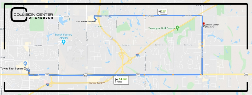 map showing Collision Center of Andover is just a few minutes' drive from places in Wichita including Towne East Mall and the Warren Theatre off Greenwich road.