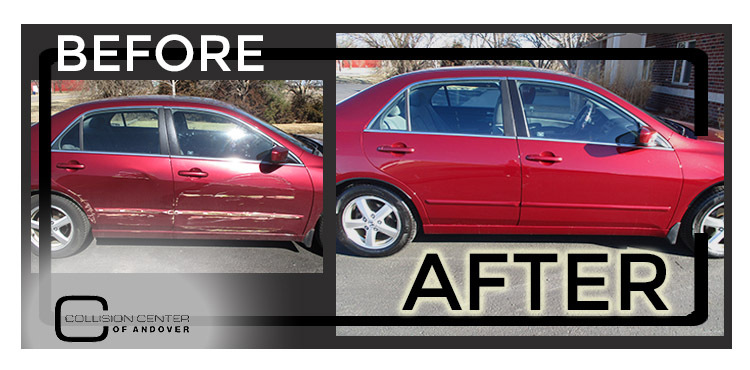 Before and After of a red car that was damaged with a lot of scratches then repainted by Collision Center of Andover