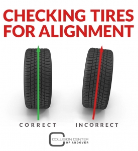 checking tires for alignment