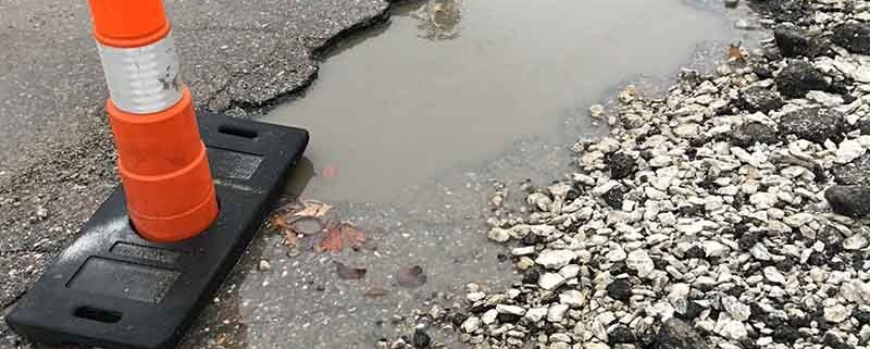 Pothole causing alignment problems