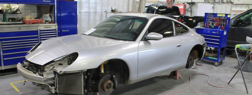 Car getting auto body repair at Collision Center of Andover shop