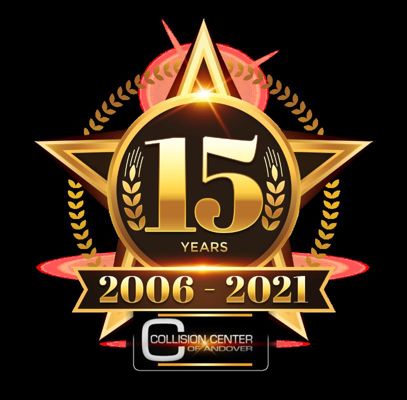 Collision Center of Andover 15th Anniversary seal